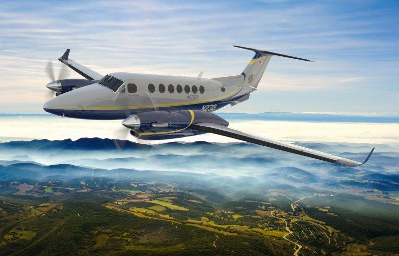 An AMS plane in the air