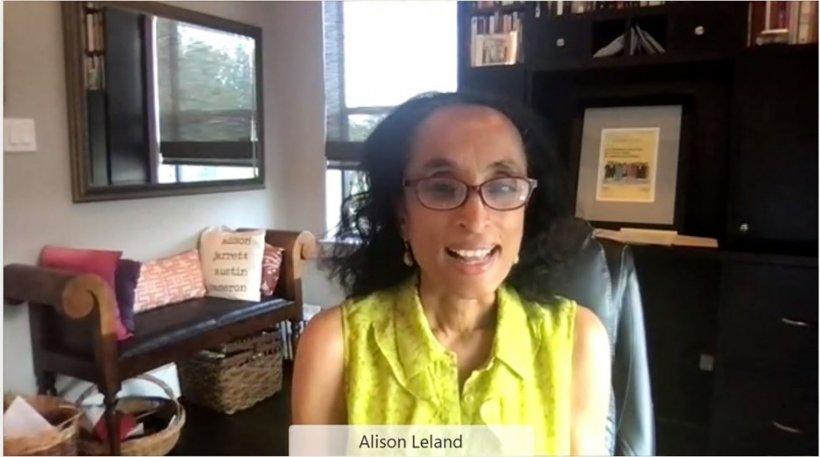 Alison Leland, JD, delivering her keynote speech.