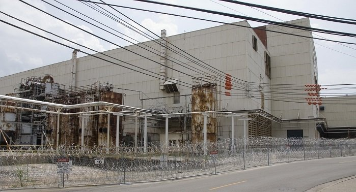 A view of the side of the Alpha-4 facility showing one of three Column Exchange processes to be demolished.