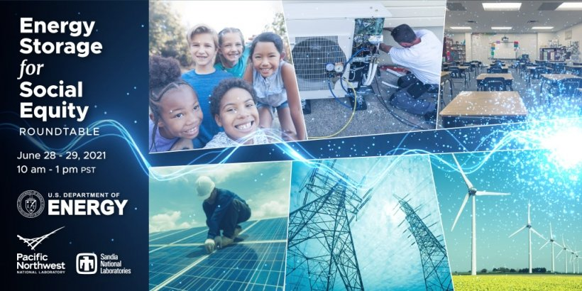 Banner for the Energy Storage for social equity roundtable