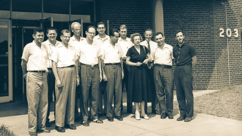 Maria Goeppert Mayer with colleagues outside of the physics building at Argonne National Laboratory, circa 1946. Argonne physicists still conduct groundbreaking research in the same building.