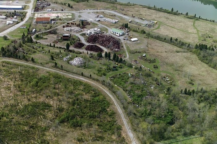 Oak Ridge's Powerhouse Area, pictured upper left, was later used as a metal scrapyard. EM removed 50,000 tons of scrap metal from the site in 2007.