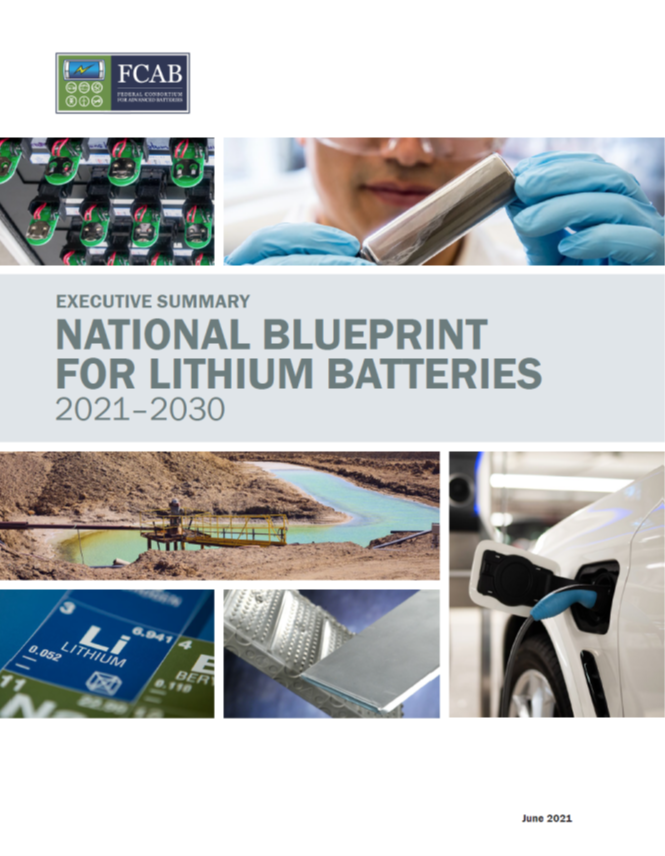 Screenshot of the National blueprint for lithium batteries cover pages
