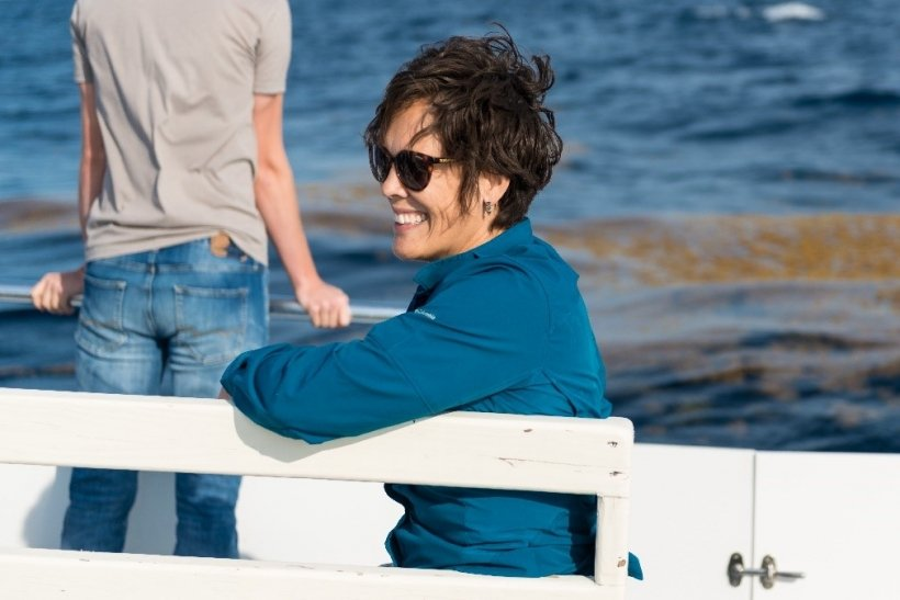 Lindsay Dubbs enjoys a moment on a research vessel en route to the Gulf Stream.