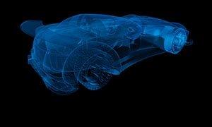 a digital blueprint of a car
