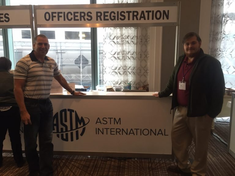 Joseph Sinicrope, left, Florida International University Applied Research Center, serves as the E10.03 Subcommittee Chair and Connor Nicholson, Savannah River National Laboratory, serves as the E10.03 Vice Chair.