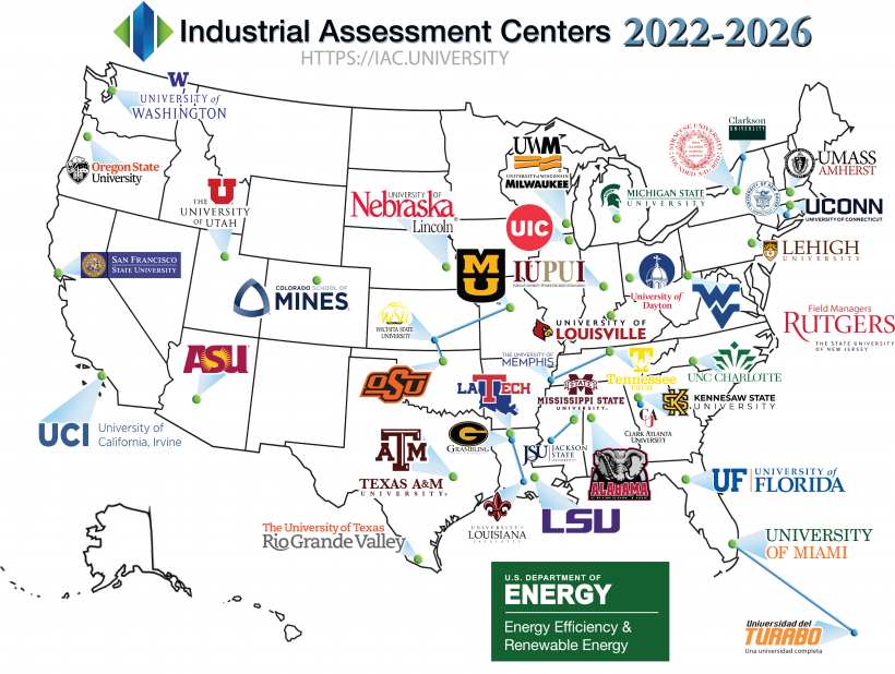 A map of the United States, with the Industrial Assessment Centers for 2022-2026. The contents of this image are represented in the table below.