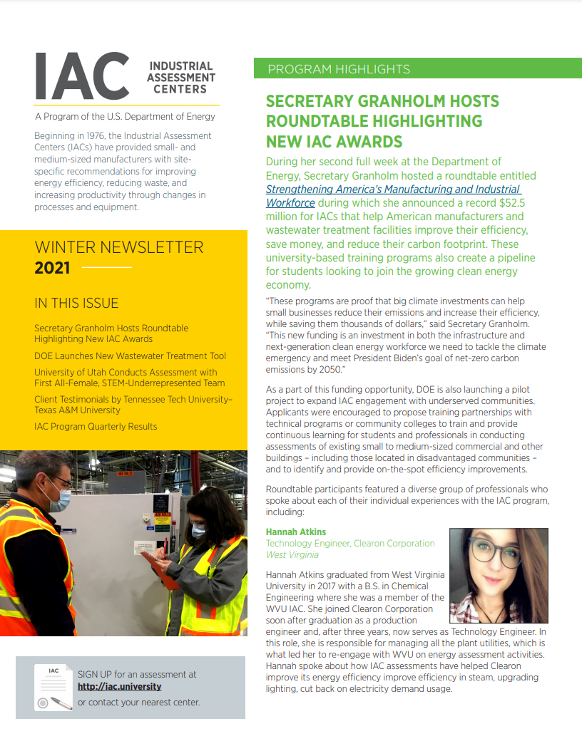 screenshot of the cover page for the 2021 winter IAC newsletter