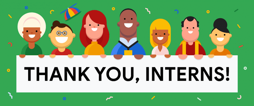 """Animated people, holding a banner that says: """"Thank you interns"""""""