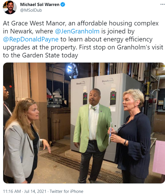 Michael Sol Warren @MSolDub: At Grace West Manor, an affordable housing complex in Newark, where @JenGranholm is joined by @RepDonaldPayne to learn about energy efficiency upgrades at the property. First stop on Granholm's visit to the Garden State today