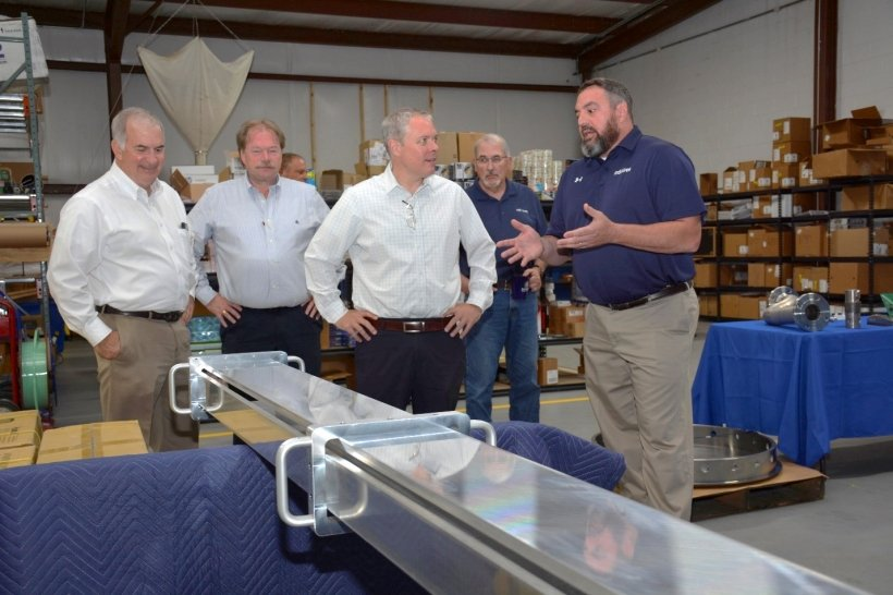 """During his visit to south central Ohio, EM Acting Assistant Secretary William """"Ike"""" White, third from left, visited a small business that provides specialty machining and manufacturing for various applications at the Portsmouth Site."""