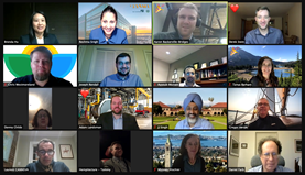 Screenshot of a virtual session, with a grid of head-and-shoulders photos of people attending.