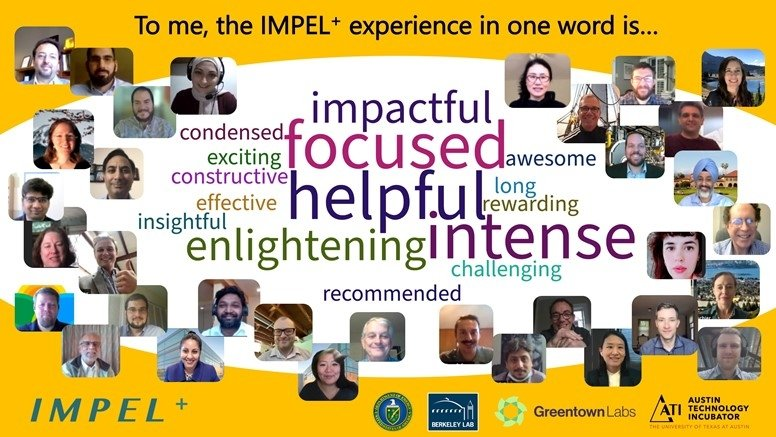 """Collage of head-and-shoulders photos of people, with a word map and a line at the top that reads """"To me, the IMPEL+ experience in one word is ..."""""""