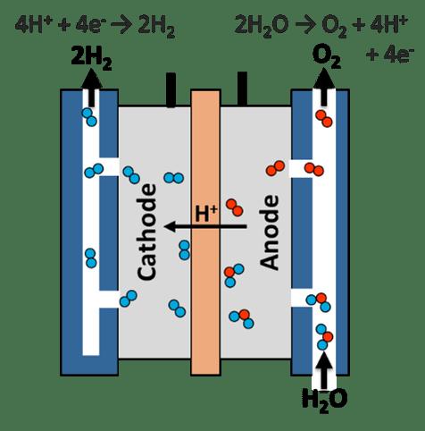 Schematic of a polymer electrolyte membrane electrolyzer