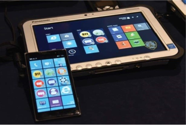 A smartphone and tablet used by NYPD officers