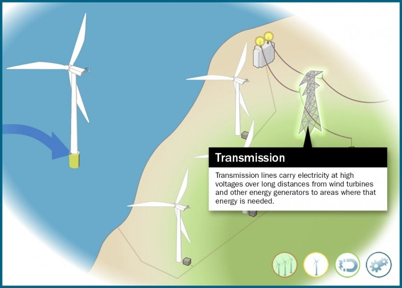 Still frame of an illustrated transmission tower highlighted in in an animation window.