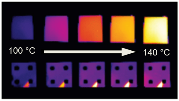 Thermal images of samples heated from 100 to 140 degrees C. The top row shows a material heating with increasing temperature. The bottom row shows the same material coated with ultrathin samarium nickel oxide films that cloak the thermal emission.