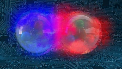 An artist's representation of two protons colliding. Protons contain quarks and gluons. Computer calculations help scientists understand how quarks and gluons define protons and neutrons.