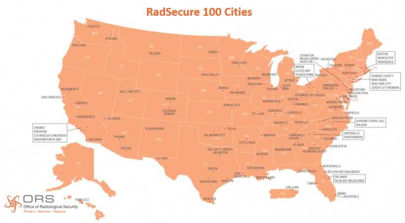 A map showing the RadSecure 100 cities.