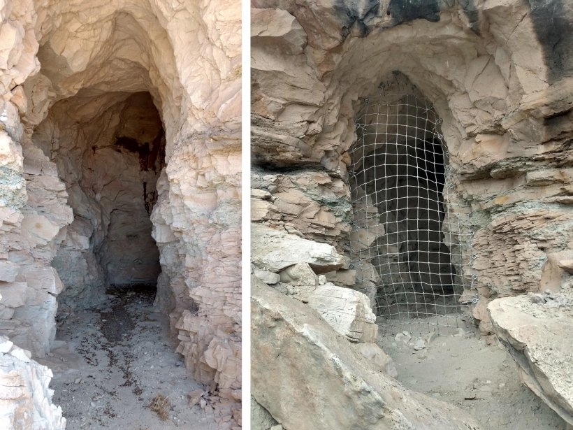 """The """"Birthday 1"""" mine before safeguarding (left), and after installation of protective netting (right)."""