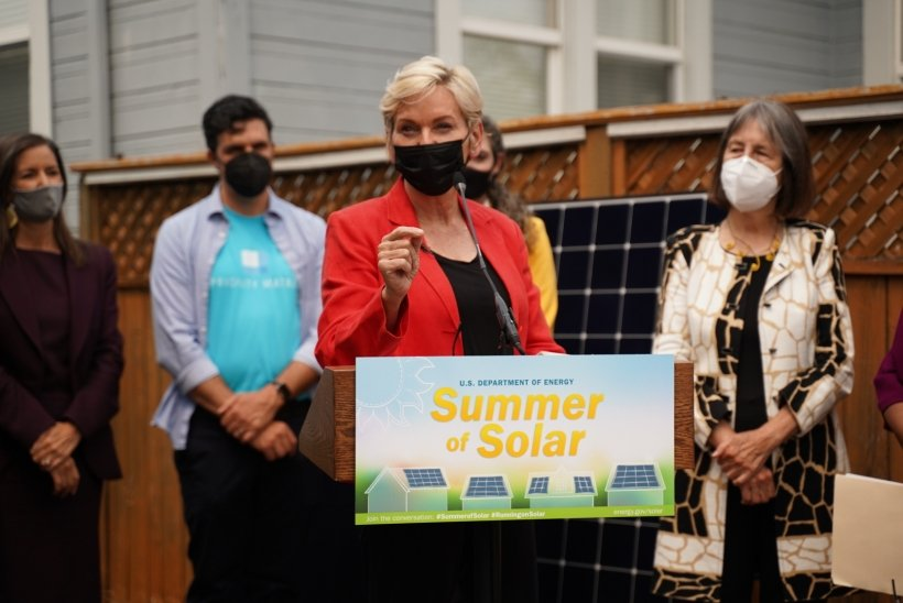 Energy Secretary Jennifer Granholm celebrated the Summer of Solar with a visit to Pablo Diaz-Gutierrez's home in Berkeley, California, to check out his solar panels.