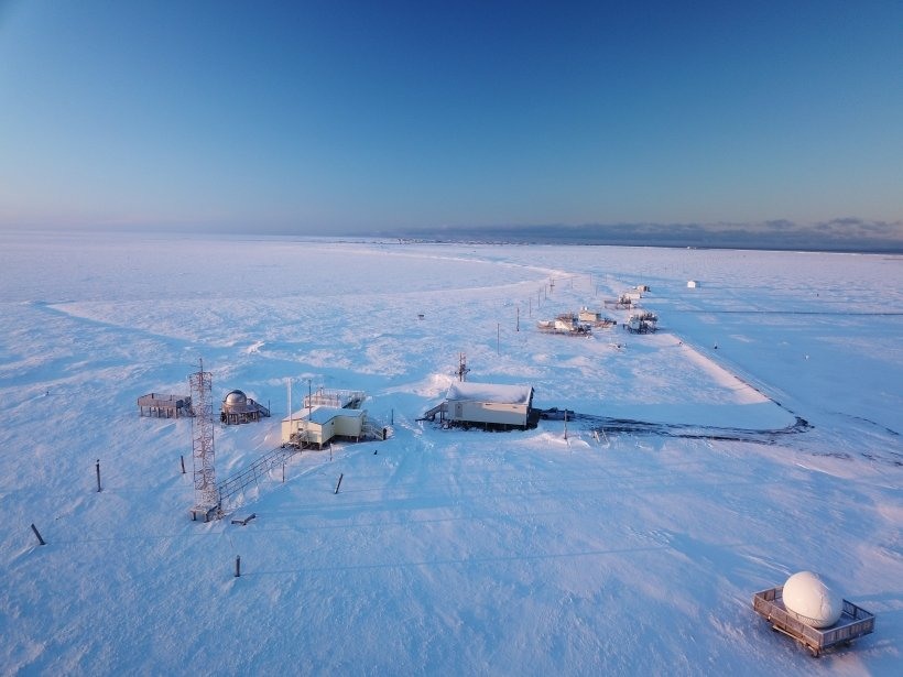 Aerial overview shot of the ARM observatory in Utqiagvik.
