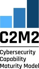 A logo for C2M2 which is three blue bars in a graph shape. It reads C2M2, Cybersecurity capability maturity model