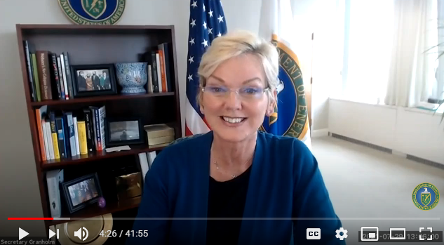 screenshot of a video featuring secretary Granholm