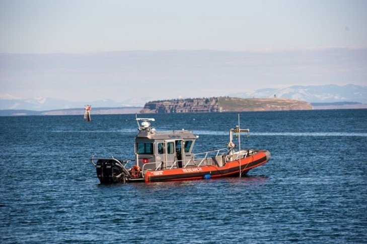 A boat sits in Clallam Bay.