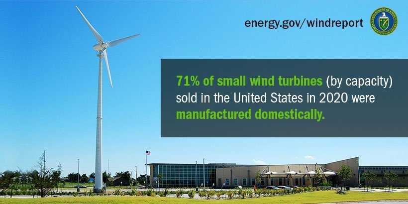 Wind turbine is tall against a cloudless sky.