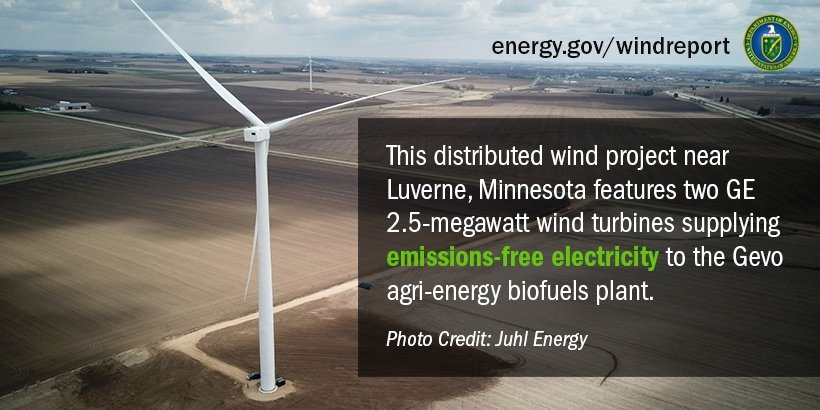 This distributed wind project near Luverne, Minnesota features two GE 2.5-megawatt wind turbines supplying emissions-free electricity to the Gevo agri-energy biofuels plant. Photo credit: Juhl Energy