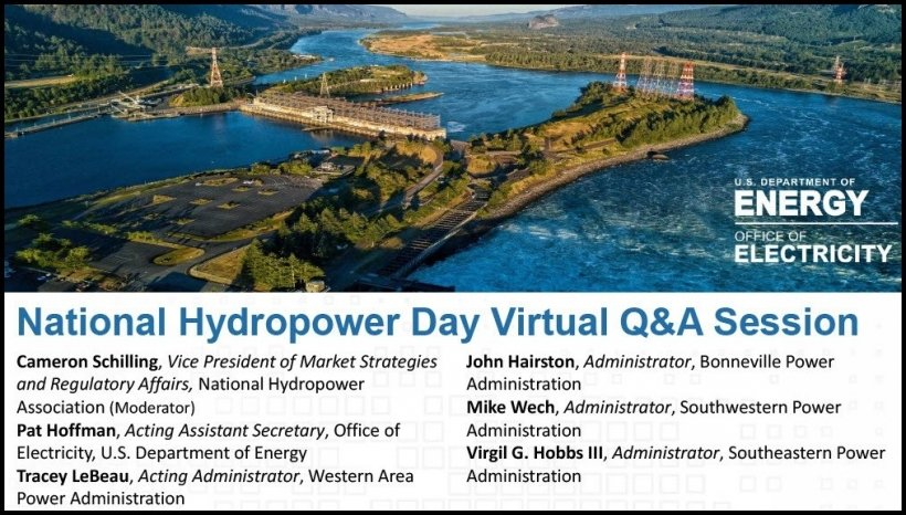 A picture of a dam and a list of the presenters for the DOE hydropower Q&A session