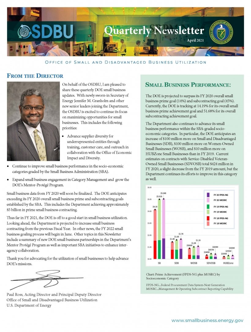 Image of front page of Quarterly Newsletter Q2 FY 2021