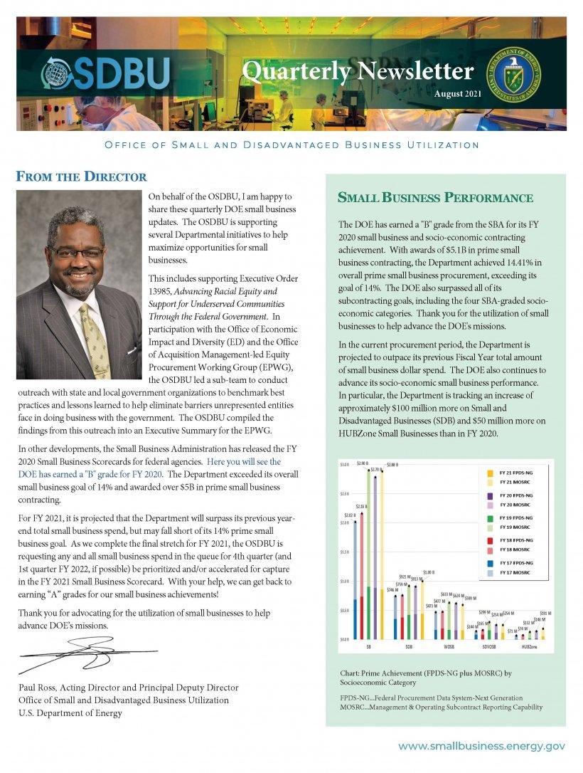 Cover of DOE OSDBU Quarterly Newsletter Q3 FY 2021