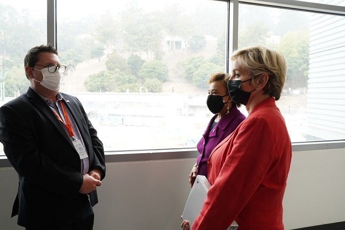 Energy Secretary Jennifer Granholm, far right, meets with U.S. Rep. Barbara Lee of California and DOE Joint Genome Institute Director Nigel Mouncey during an Aug. 20 visit to the Lawrence Berkeley National Laboratory.
