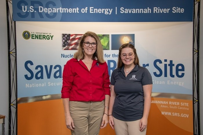 Jennifer Scott, left, and Alex Lee, employees with Savannah River Site contractor Savannah River Nuclear Solutions, were honored by the Voluntary Protection Programs Participants' Association for their safety efforts.