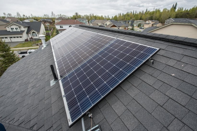 Solar panels on the roof of a house.