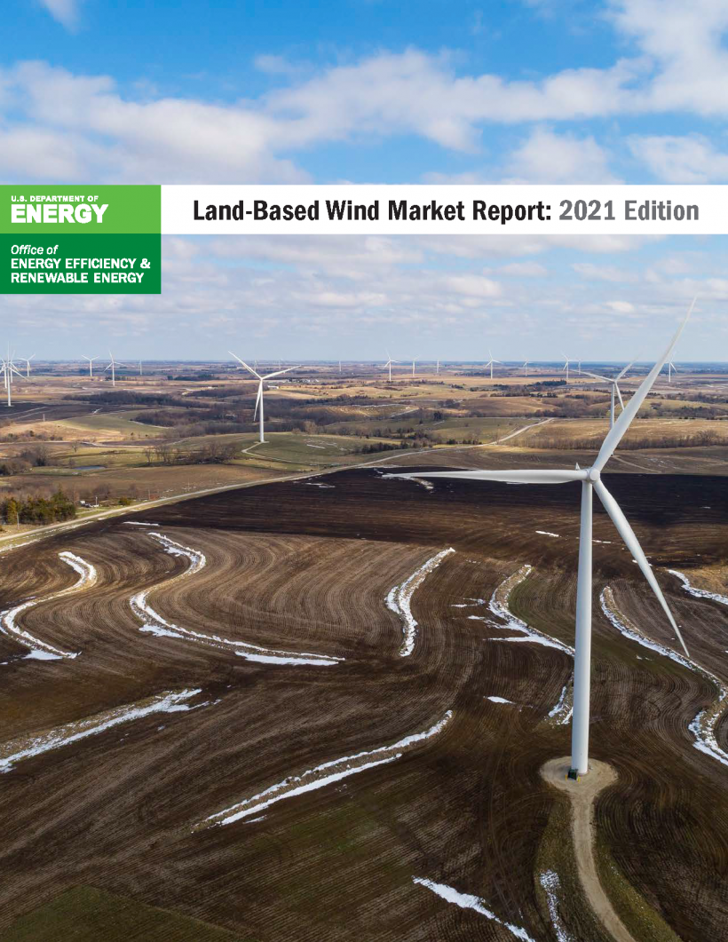 Aerial view of Land-Based wind turbines.