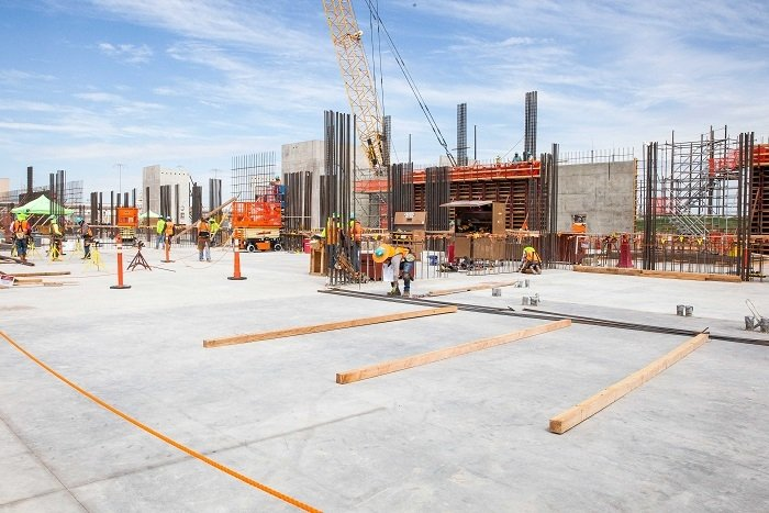 With the foundation concrete pour completed six weeks early, workers at the New Filter Building at the Waste Isolation Pilot Plant's (WIPP) Safety Significant Confinement Ventilation System are already erecting the walls of the 55,000 square-foot building. The ventilation system is key to restoring full operations at WIPP. It will be the largest containment ventilation system among DOE facilities and the largest construction project at WIPP in close to 30 years.
