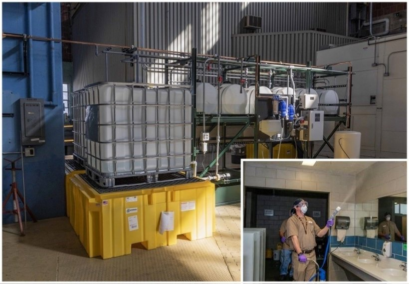 Production and use of the sustainable disinfectant at Y-12.