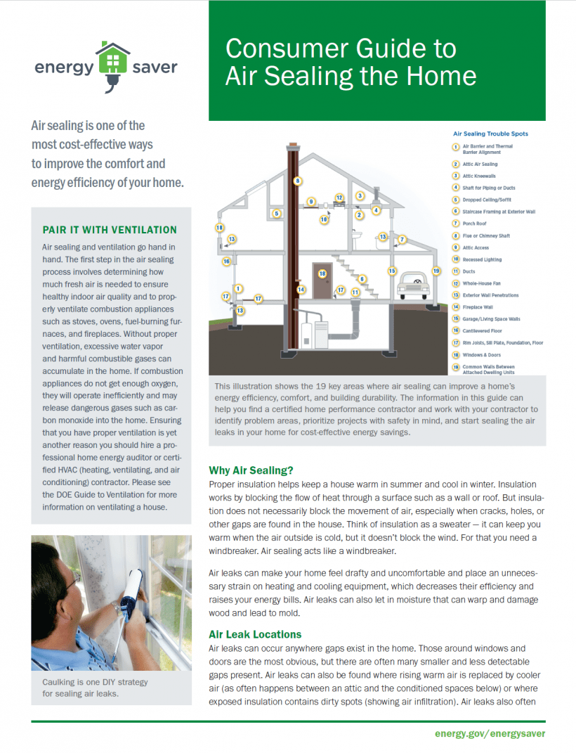 Thumbnail of the Consumer Guide to Air Sealing the Home fact sheet.