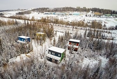 Photo of overhead view of colorful houses at the CCHR in Fairbanks.