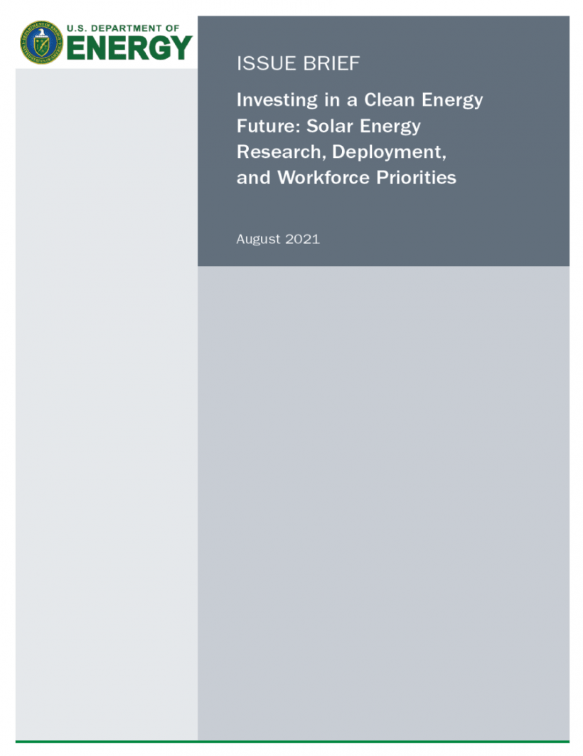 Thumbnail of the issue brief, Investing in a Clean Energy Future: Solar Energy Research, Deployment and Workforce Priorities
