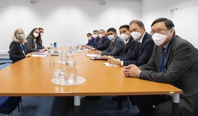 NNSA Administrator Hruby and her team, left, meet with the delegation from Kazakhstan at the IAEA GC.