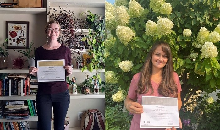 Hanford Mission Integration Solutions biologists Emily Norris, left, and April Johnson received recognition for environmental leadership for the reseeding project on the Hanford Site.
