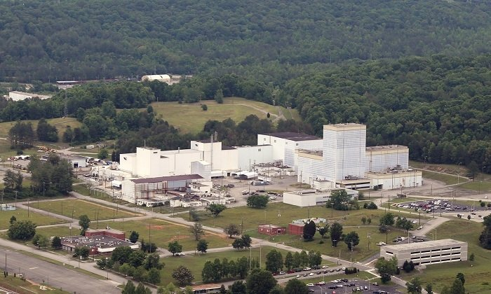 An aerial view of the Centrifuge Complex before demolition. EM completed removal of the sprawling 235,000-square-foot complex at East Tennessee Technology Park in July 2020.
