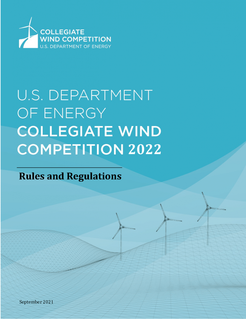 Cover of the Collegiate Wind Competition 2022 Rules and Regulations