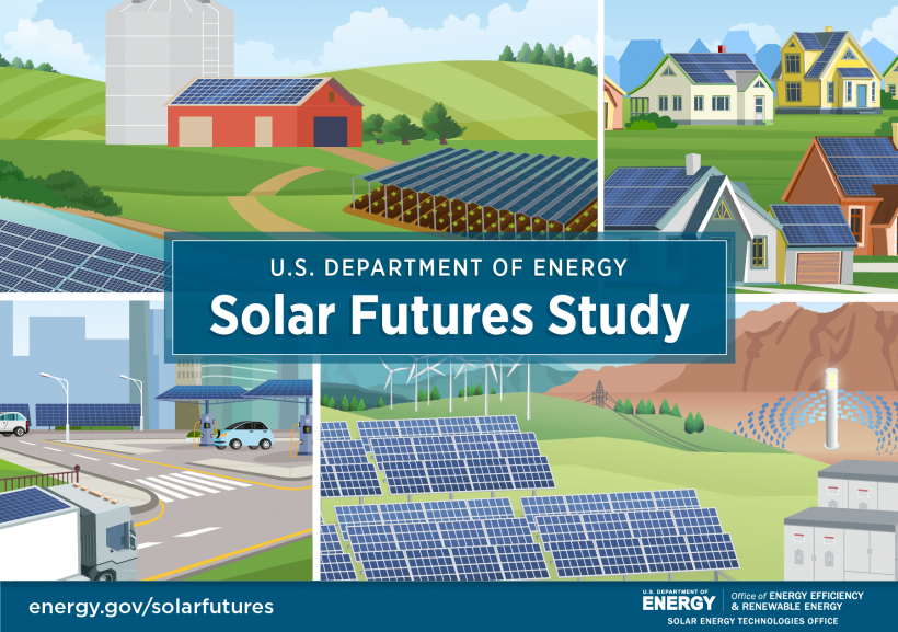 """Graphic depicting solar panels in a variety of locations and uses with """"Solar Futures Study"""" written over the top"""