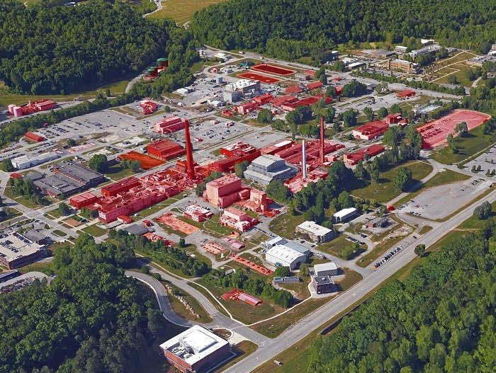 A view of the central campus area at Oak Ridge National Laboratory (ORNL), which houses the oldest buildings at the laboratory. Buildings slated for EM cleanup are highlighted in red. Crews are performing deactivation at 18 ORNL facilities.