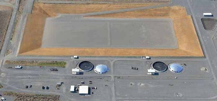 In coming months, crews at the Hanford Site will install domes on the Integrated Disposal Facility's two leachate tanks. EM contractor Central Plateau Cleanup Company is completing construction on the engineered landfill for safe, permanent disposal of vitrified low-activity tank waste from the Waste Treatment and Immobilization Plant.